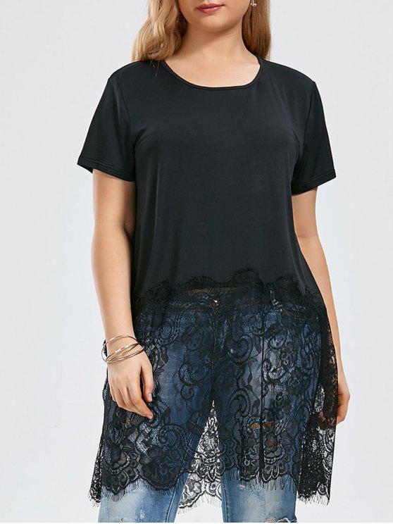 77ad84bcee2 2019 Short Sleeve Lace Trim Plus Size Tunic Top In BLACK 2XL