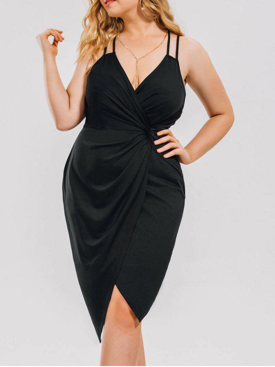 Plus Size Knot Ruched Evening Cami Dress Black Plus Size Dresses
