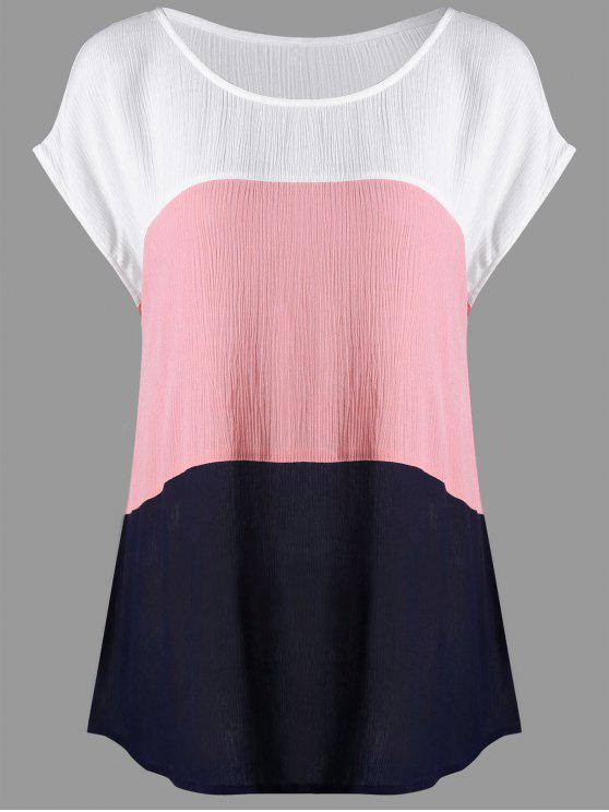 new Plus Size Cap Sleeve Crinkle Blouse - COLORMIX 5XL
