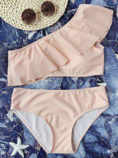 Padded Ruffle One Shoulder Bikini Set - Pink L
