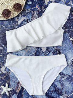 Texturierte Rüsche Ein Schulter Bikini Set - Weiß L