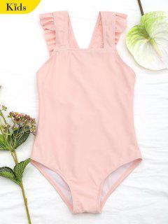 Square Neck Frilled Girls Swimwear - Orangepink 4t