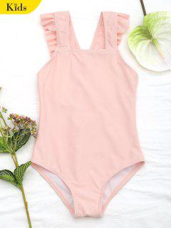 Square Neck Frilled Girls Swimwear - Orangepink 6t