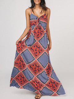 Bow Tie Tribal Print Slip Maxi Dress - Multicolor Xl