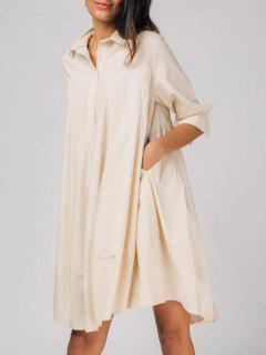 Half Buttoned Oversized Shirt Dress - Apricot