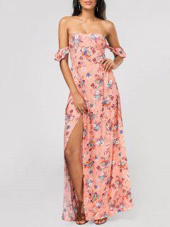 Floral Alto Slit Ruffles Maxi Vestido De Hombro - Rosado M