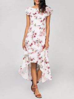 Robe Maxi Florale Haut-Bas En Couche - Blanc S