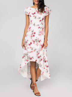 Layered Floral High Low Maxi Dress - White L