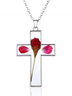 Crucifix Dried Flower Inlay Pendant Necklace - Red