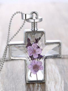 Beaded Chain Dry Flowers Inlay Cross Necklace - Transparent