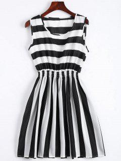Smocked Panel Striped A Line Mini Dress - Stripe L