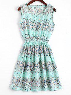 Smocked Waist Floral A Line Dress - Light Blue M