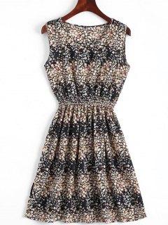 Smocked Waist Floral A Line Dress - Black S