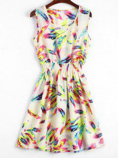 Smocked Waist Floral A Line Dress - Off-white M