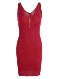 Plunging Cuello Ribbed Vestido De Punto Bodycon - Rojo