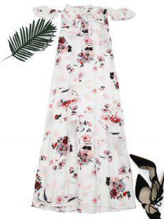 Floral Printed High Slit Maxi Dress - Floral S