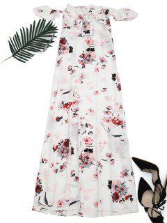 Floral Printed High Slit Maxi Dress - Floral Xl