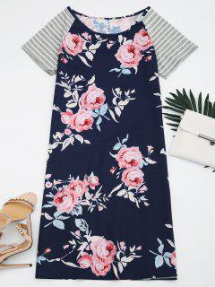 Striped Sleeve Floral Print Dress - Floral S
