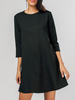 Casual Keyhole Swing Mini Dress - Black M
