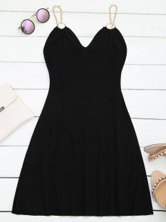 Ring Embellished Knitted Flare Dress - Black