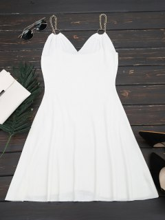 Ring Embellished Knitted Flare Dress - White