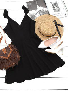 V Shaped Back Ruffled Strap Flare Dress - Black Xl