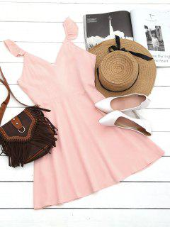 V Shaped Back Ruffled Strap Flare Dress - Pink M