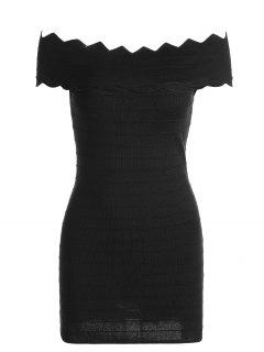 Off The Shoulder Zigzag Hem Bodycon Dress - Black