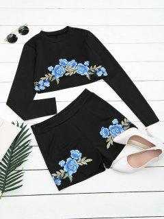 Floral Patched Top And Shorts Set - Black L