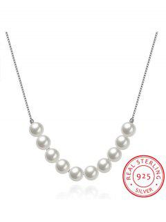 Faux Pearl 925 Silver Collarbone Necklace - Silver