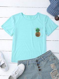 Ananas-Baumwoll-T-Shirt Mit Tasche - Hellblau S