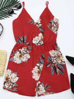 Combishort à Imprimé Floral Avec Bretelles Spaghetti - Rouge Xl