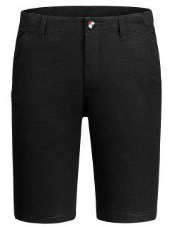 Casual Zip Fly Cotton Chino Shorts - Black 32