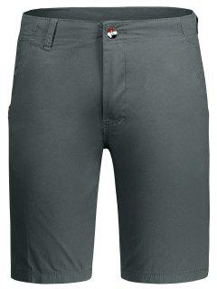 Zip Fly Plain Chino Shorts - Gray 30