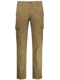 Straight Cargo Pants With Multi Pockets - Khaki 36
