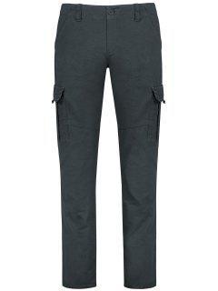 Straight Cargo Pants With Flap Pockets - Gray 30