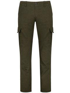 Flap Pockets Zip Fly Straight Cargo Pants - Olive Green 32