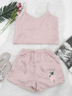 Floral Patched Cami Top And Shorts Set - Light Pink L