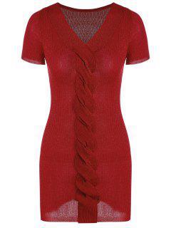 V Cuello Ribbed Glitter Vestido De Punto - Rojo