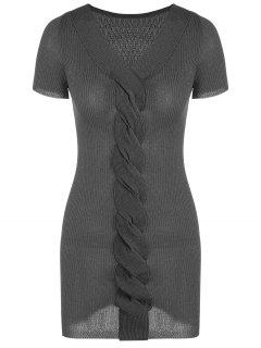 V Neck Ribbed Glitter Knitted Dress - Deep Gray