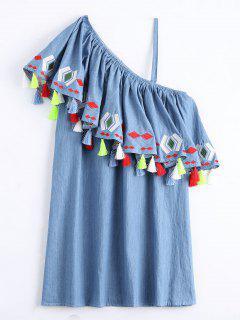 Un Hombro Flounce Borlas Vestido De Cambio - Denim Blue Xl