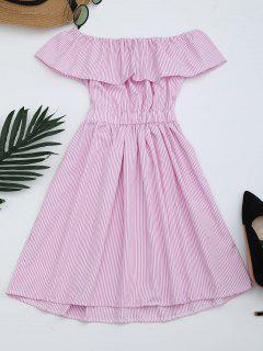 Open Back Striped Off The Shoulder Dress - Pink L