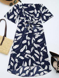 Leaves Print High Slit Asymmetric Dress - Purplish Blue L