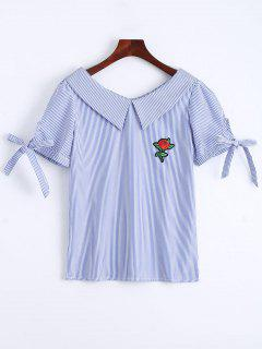 Floral Patched Self Tie Striped Blouse - Blue M