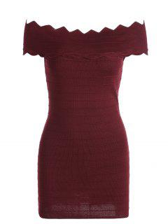 Off The Shoulder Zigzag Hem Bodycon Dress - Wine Red