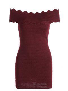 Robe Moulante épaules Dénudées Avec Ourlet Zigzag - Rouge Vineux
