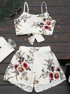 Floral Print Cami Top And Shorts Suit - White Xl