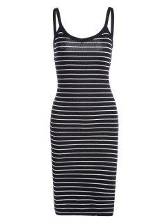 Side Slit Striped Knitted Cami Dress - Stripe