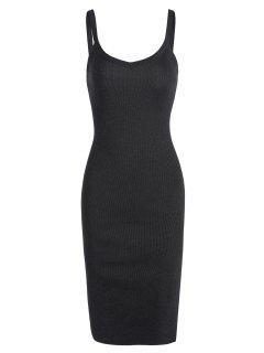 Side Slit Knitted Cami Sheath Dress - Black