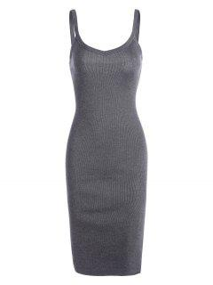 Side Slit Knitted Cami Sheath Dress - Gray